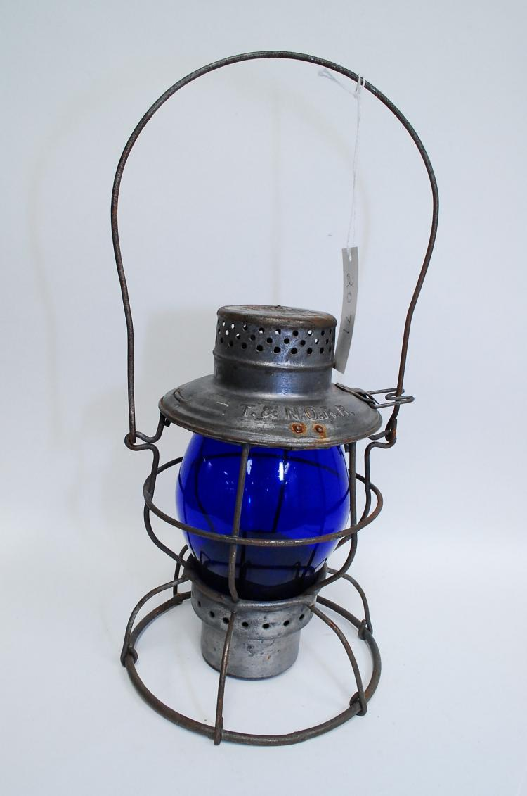 Antique T&NO RR Railroad Lantern With Blue Tall Globe