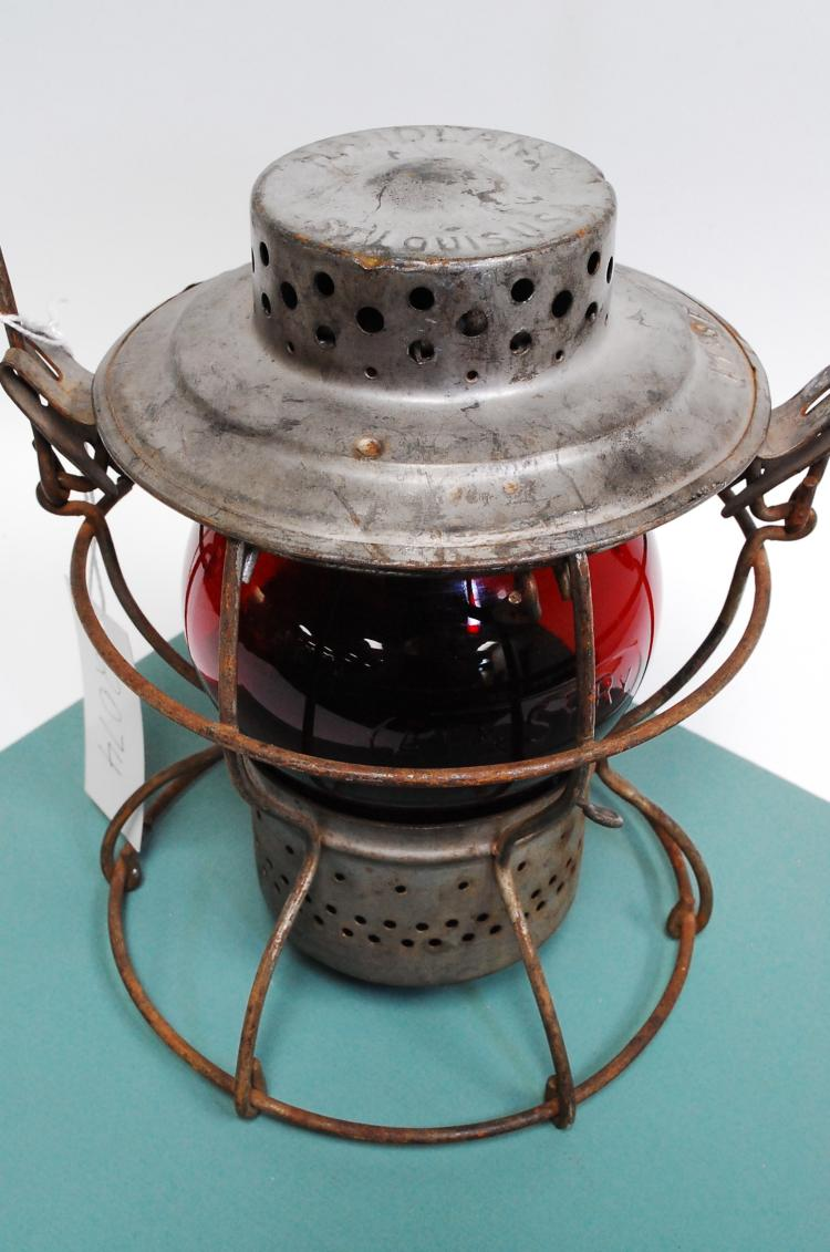 Antique Handlan AT&SF Railroad Lantern With Red Matching Embossed Globe