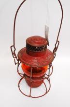 Antique Adlake 1923 Wabash Ry Railroad Lantern With Orange Globe