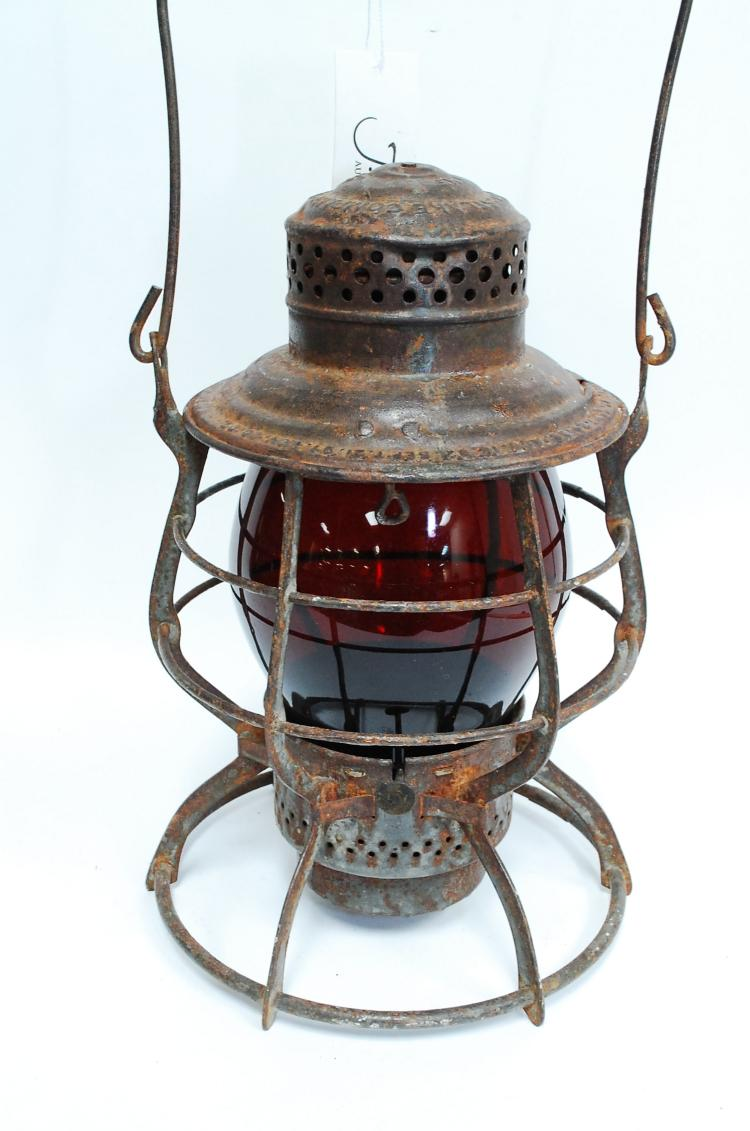 1897 Union Pacific Railroad Lantern With Red Tall Globe