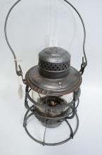 1886 Armspear Manfg Co NPRy Railroad Lantern With Matching Embossed Tall Globe