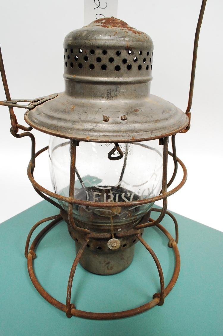 Antique Handland Railroad Lantern With Acid Etched Frisco Melon Globe