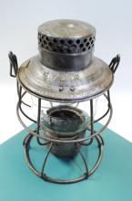 Antique Adlake C&A RR Railroad Lantern With Tall Matching Embossed Globe