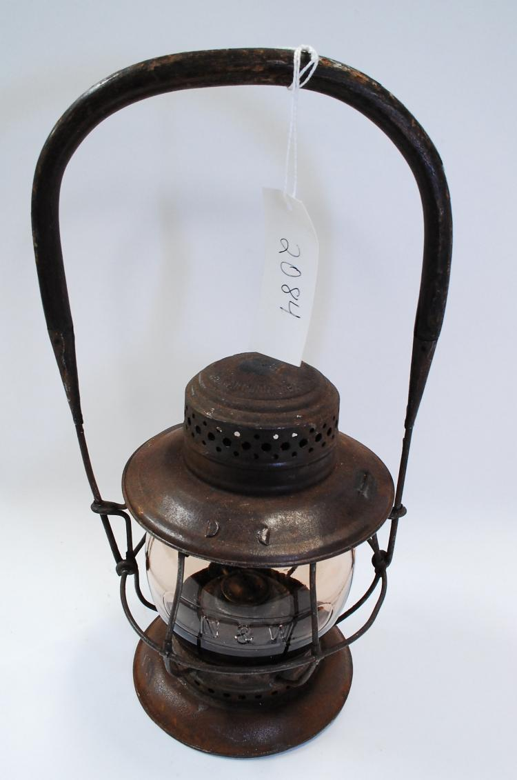 1906 Sold By Only Tom Moore N&W Railroad Tall Smoked Matching Embossed Globe Lantern