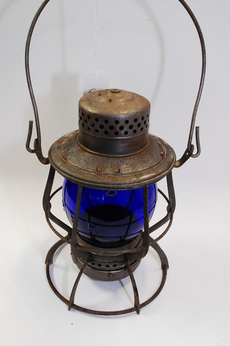 Antique Keystone Lantern  Co Prr Railroad Lantern With Blue Matching Embossed Globe