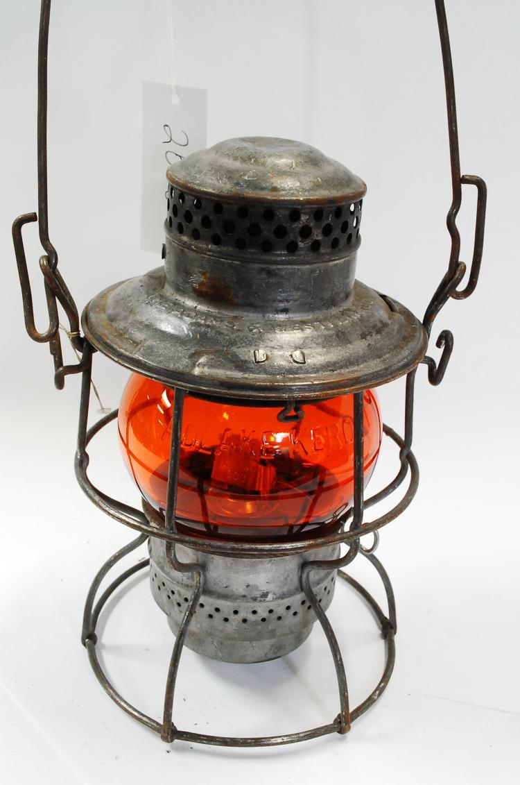 1923 Adlake CMSTP&PRR Railroad Lantern With Orange Globe