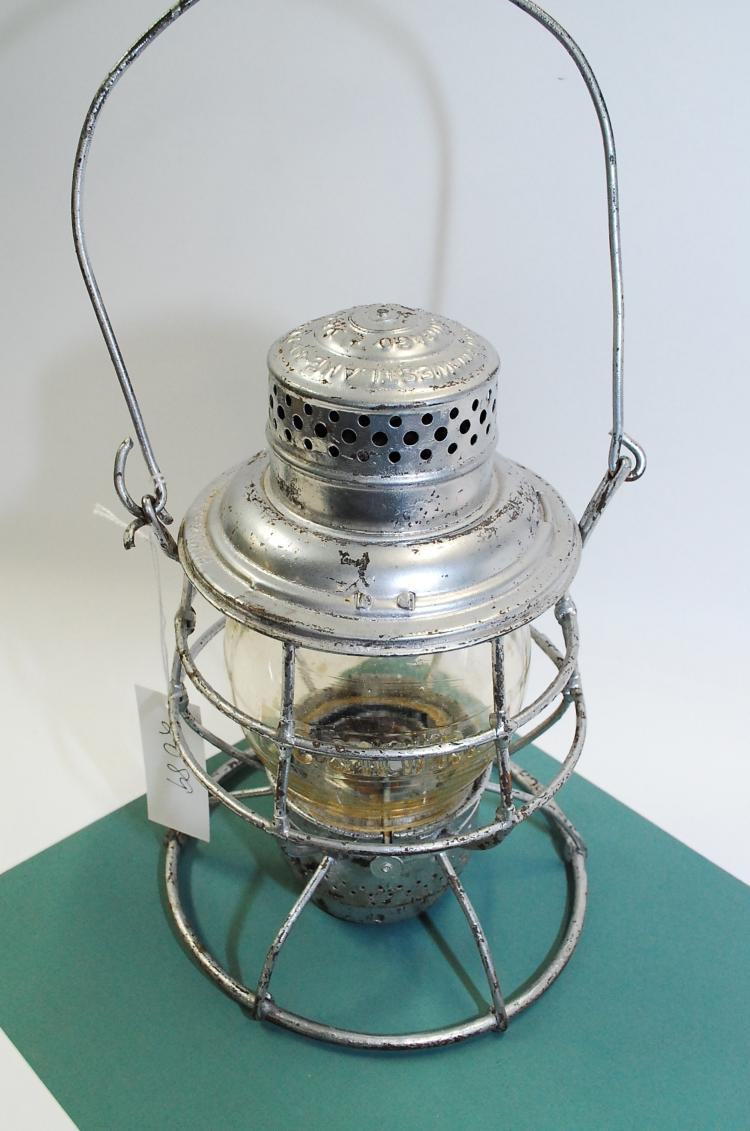 1909 Adlake C&NWRy Railroad Lantern With Tall Embossed Yellow Matching Globe