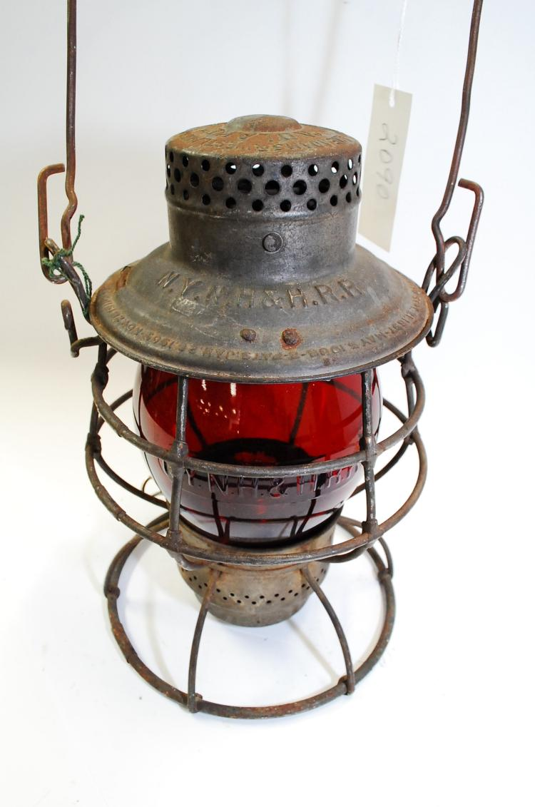 1917 A Drake NYNH&HRR Railroad Lantern With Tall Red Matching Embossed Globe