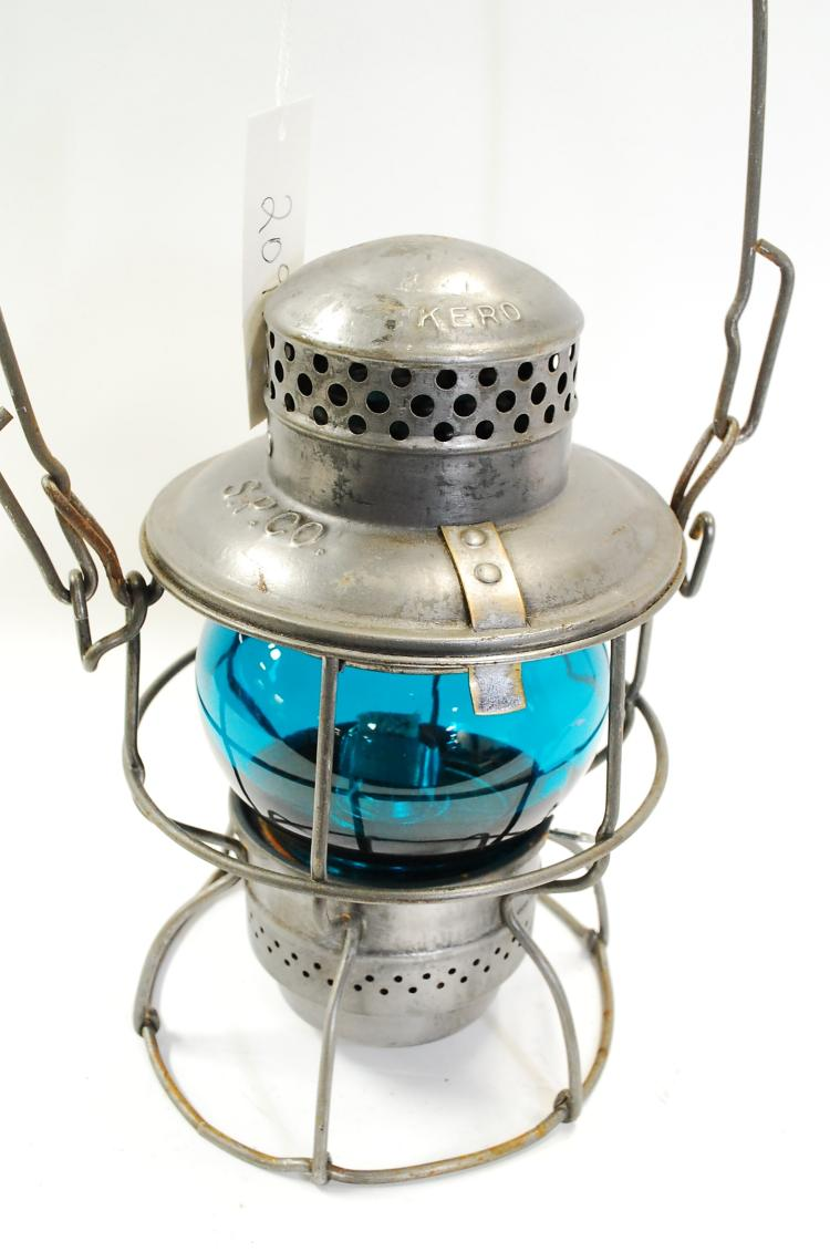 Antique Adlake Kero SP Co Railroad Lantern With Turquoise Short Globe