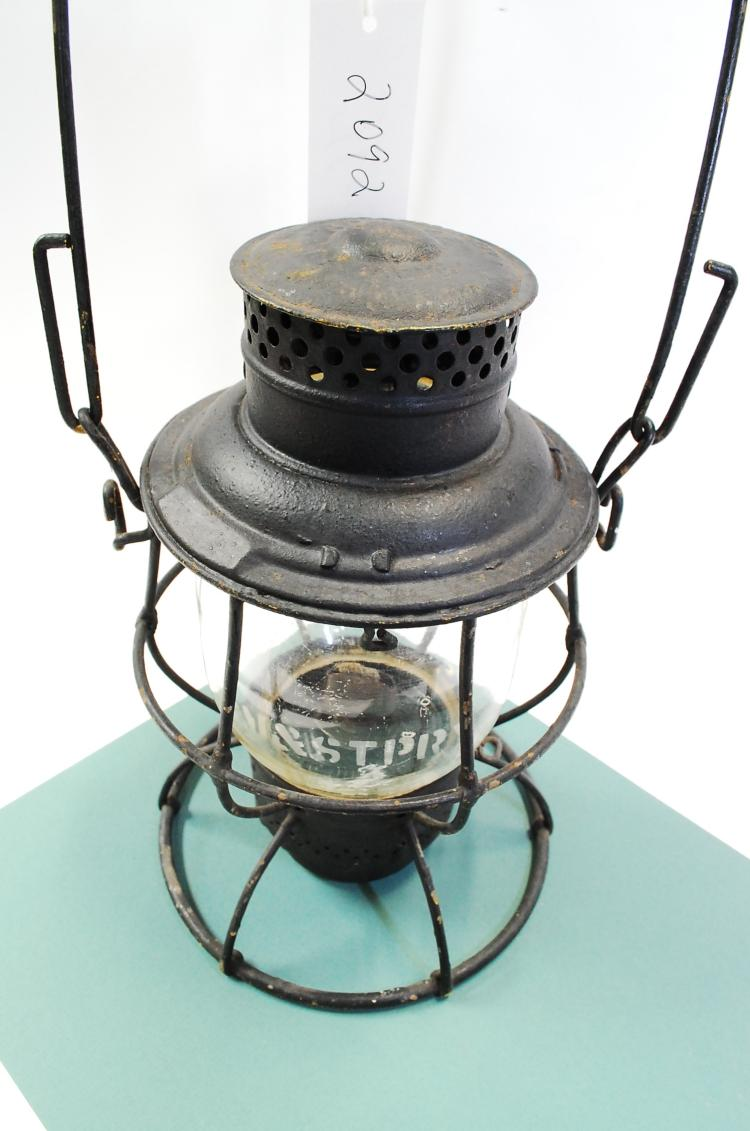 Antique CM&STPRy Railroad Lantern With Tall Acid Etched Matching Melon Globe