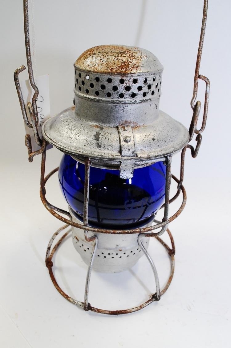 1925 Armspear Manfg GNRy Railroad Lantern With Matching Blue Acid-Etched Globe