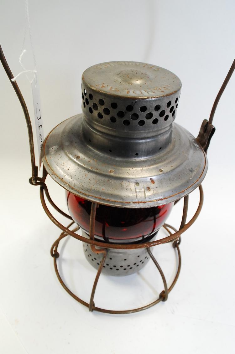 Antique Handlan Mopac Railroad Lantern With Red Globe