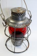 Antique Adlake Pery Railroad Lantern With Tall Red Globe