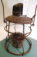 Antique Handlan Icrr Railroad Lantern With Matching Embossed Tall Clear Globe