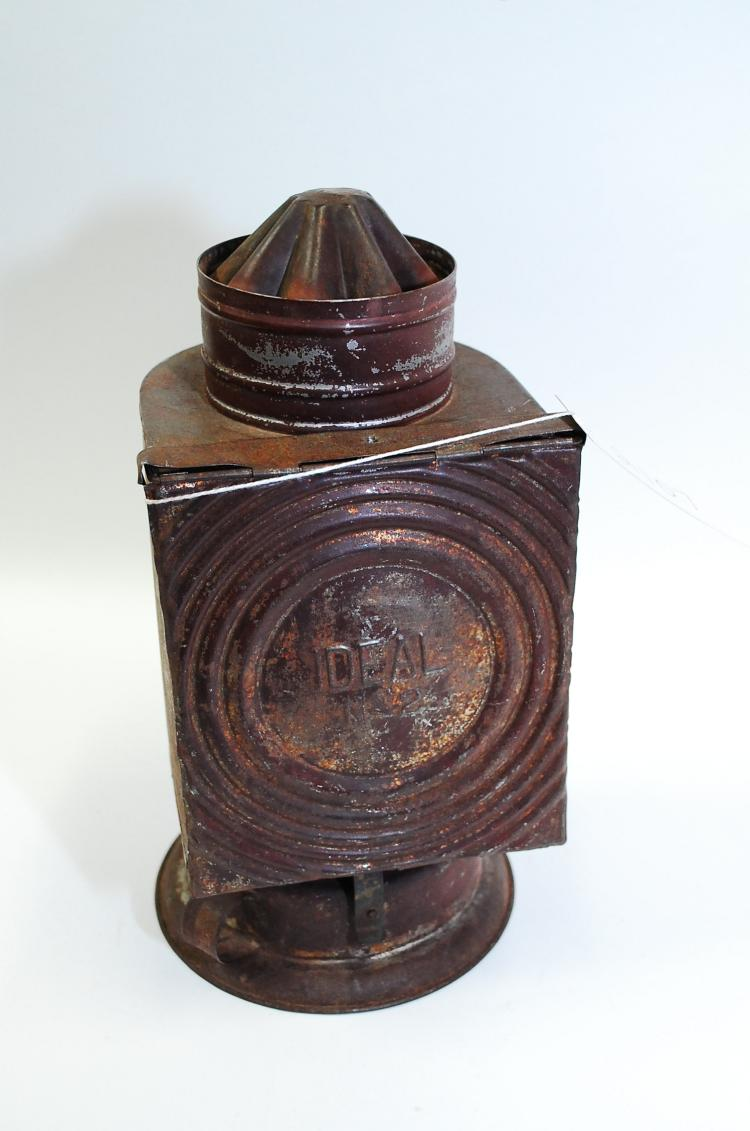 Antique Ideal Number 2 Tin Red Lense Primitive Darkroom Oil Lamp