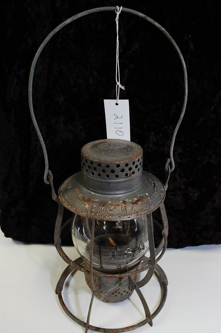 Antique Dietz No 39 Steel-Clad Railroad Lantern With Usa Embossed Tall Clear Globe