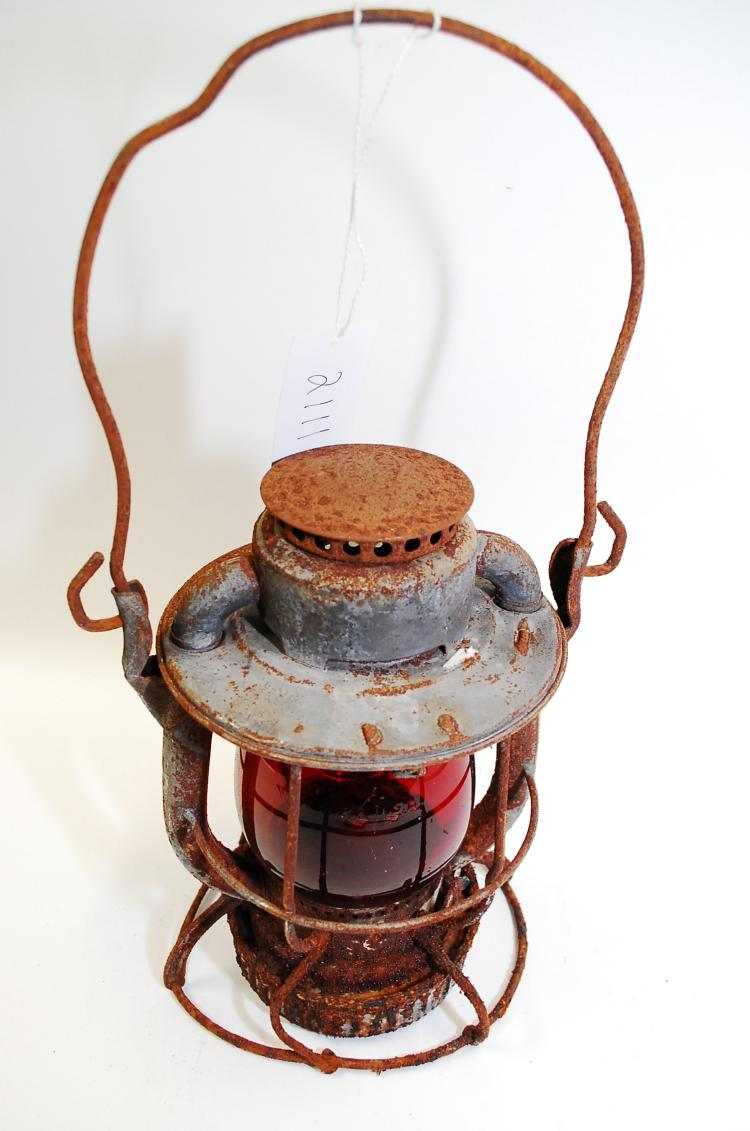 Antique Dietz Vesta Rf&P Railroad Lantern With Red Globe