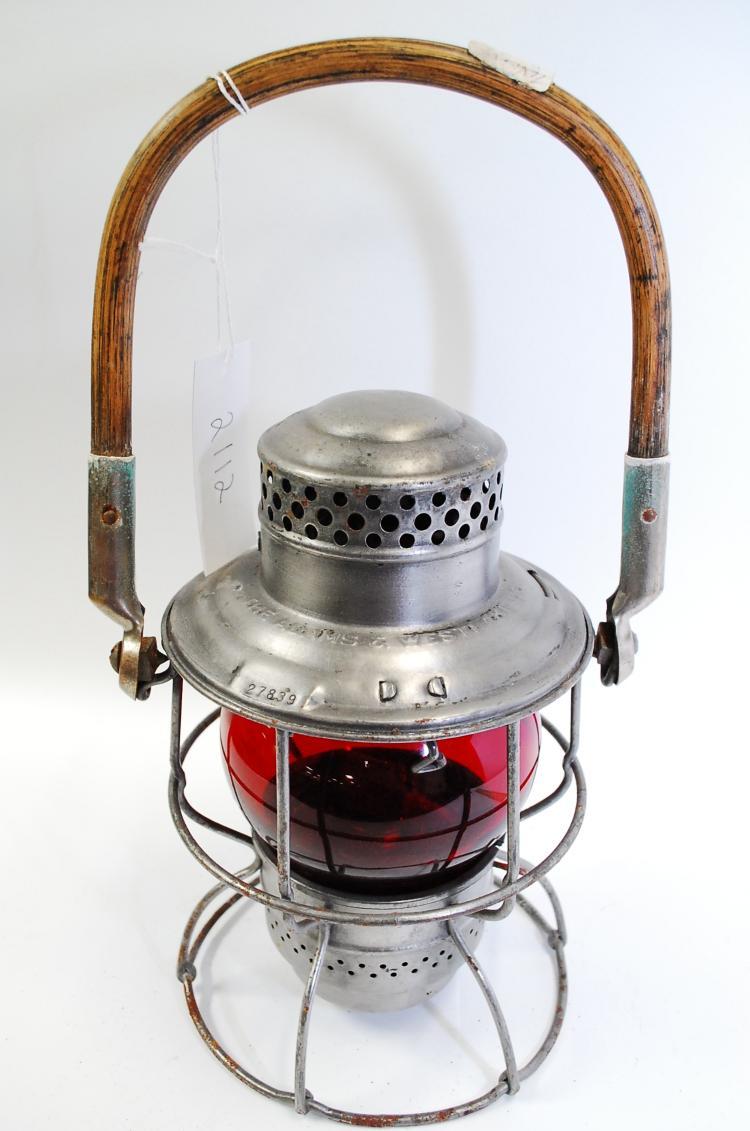 1923 Adlake Kero T&P Railroad Lantern With Red Globe #27839