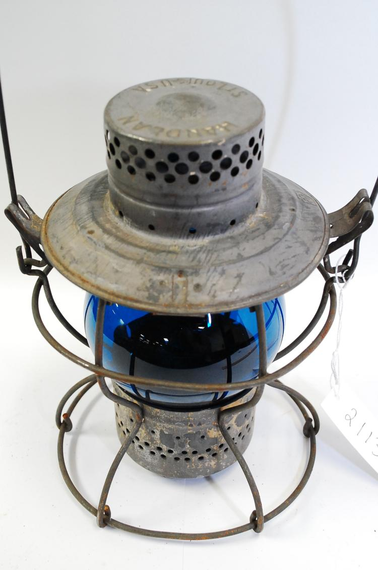 Antique Handlan Keystone Prr Blue Globe Railroad Lantern