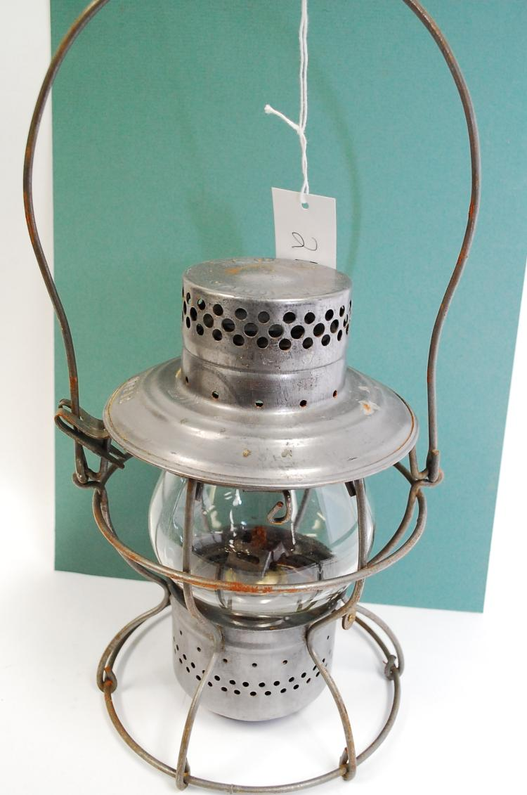 Antique Handlan Mopac Railroad Lantern With Tall Acid Etched Mopac Clear Globe