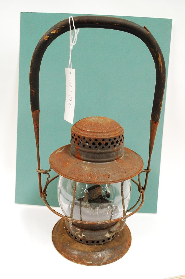 1906 TL Moore MP Railroad Bell Bottom Lantern Embossed Matching Tall Globe