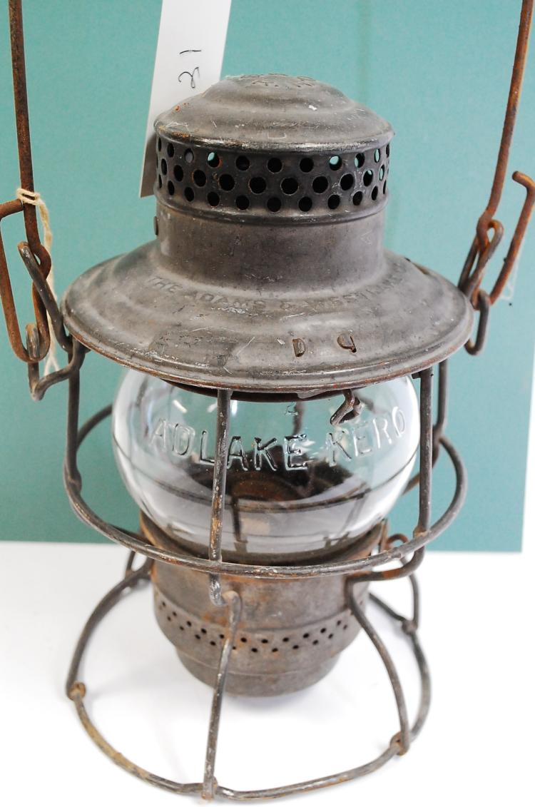 Antique Adams Westlake B&ORR Railroad Lantern With Clear Acid-Etched Matching Globe
