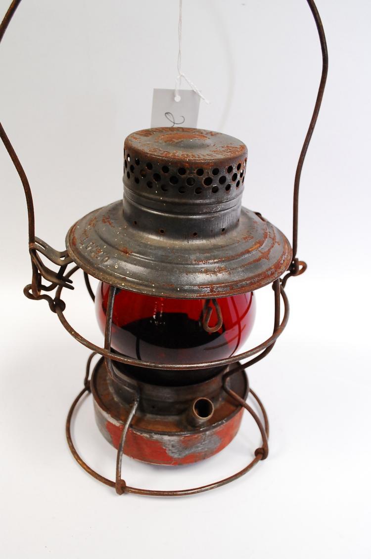 Antique Handlan LGLCO Railroad Lantern With Red Globe