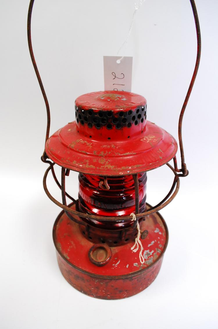 Antique Handlan MPLCO Railroad Lantern With Red Embossed Handlan Inc Globe