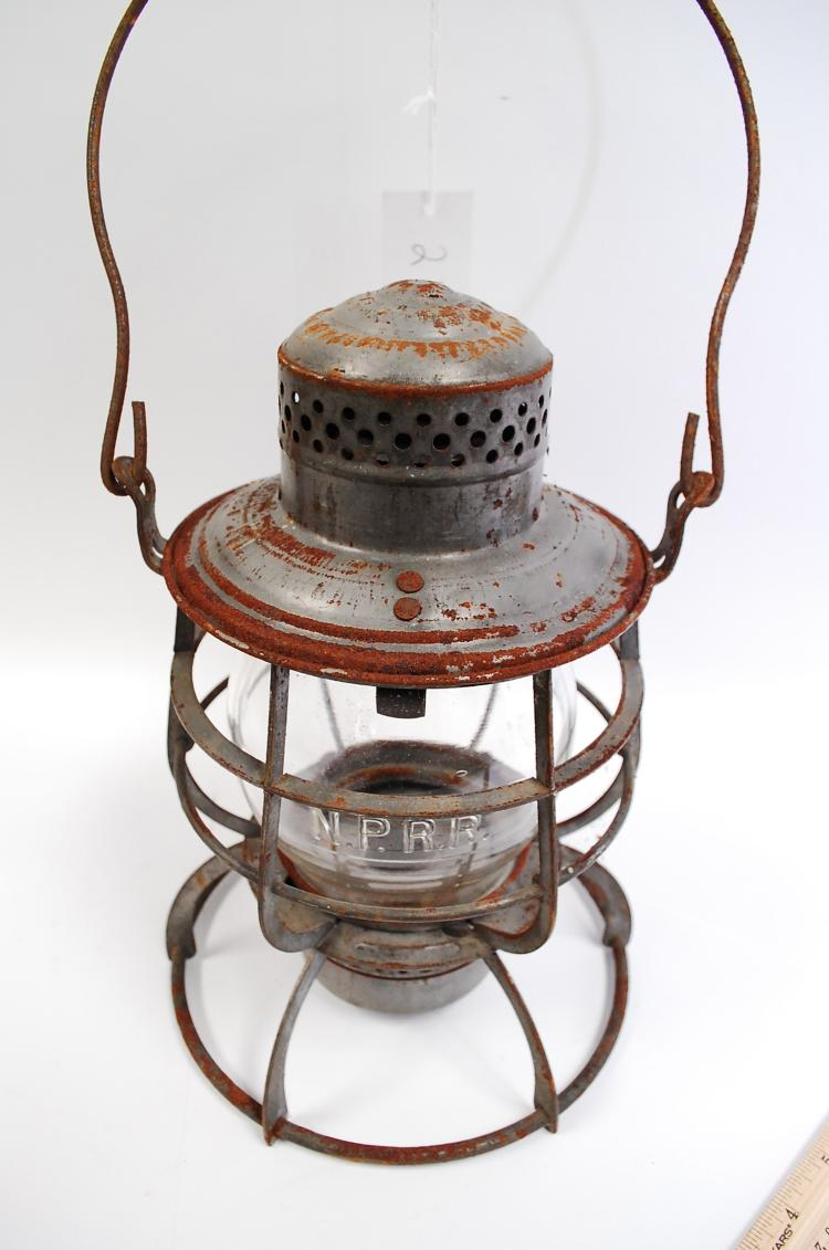 1886 Armspear Manfg Co NPRy Railroad Lantern With Matching Embossed Safety Always Tall Globe
