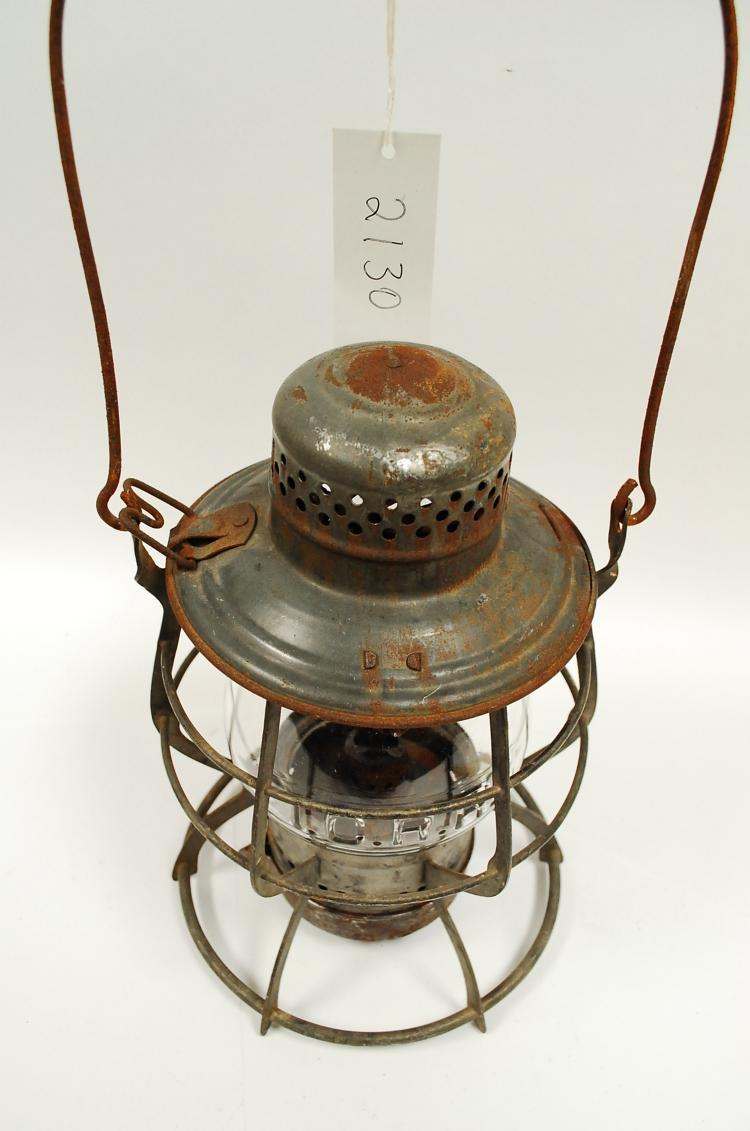 Antique ICRR Railroad Lantern With Tall Clear Matching Embossed Globe