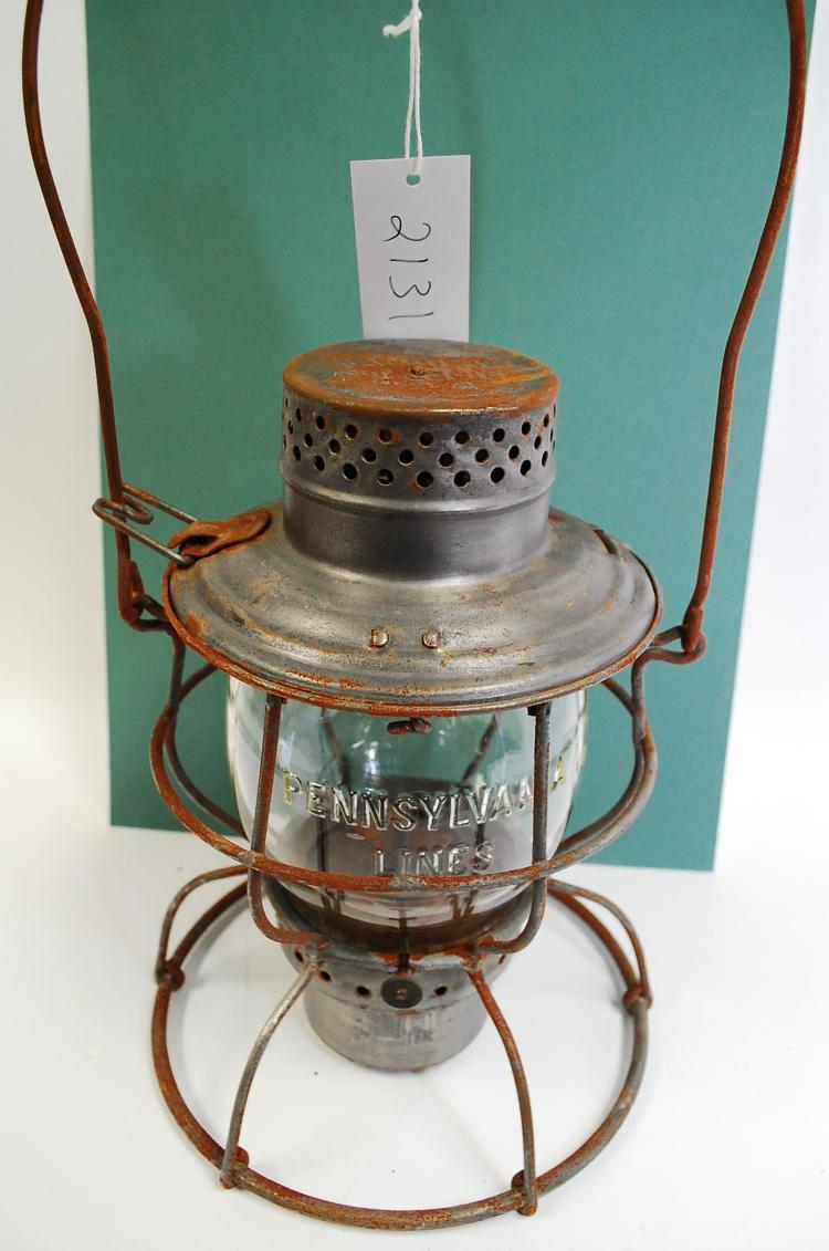 Antique Handlan Penn Lines Railroad Lantern With Clear Matching Embossed Yellow Tint Melon Globe