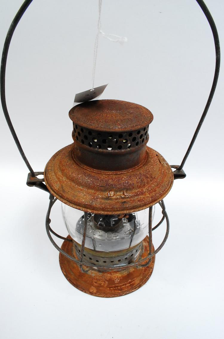 1909 Adlake Bell Bottom Railroad Lantern With Tall Safety First Embossed Globe