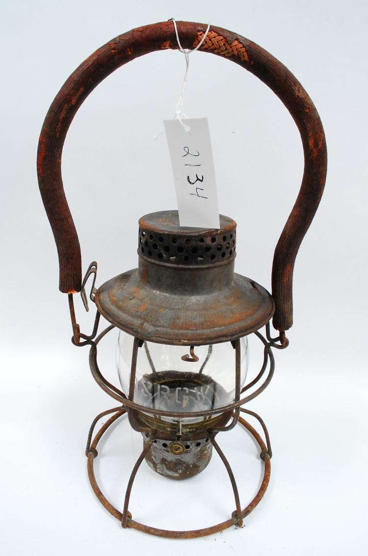 Antique Handlan D&RGW Railroad Lantern With Matching Acid Etched Tall Yellow Tinted Globe