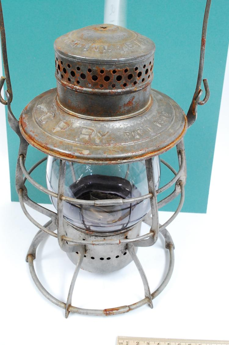 Antique ET Wright & Co MFRS 1908 CPRy RR Railroad Lantern With Purple Tall Globe
