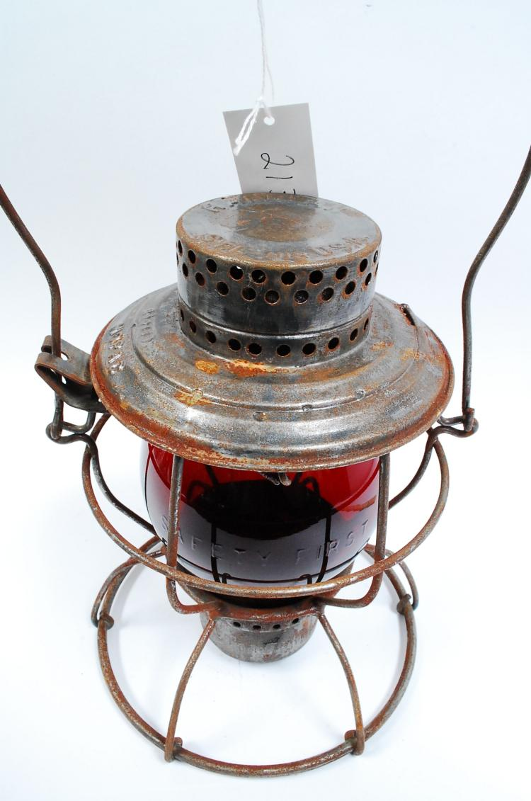 Antique Handlan Mopac Railroad Lantern With Red Matching Embossed Safety First Tall Globe