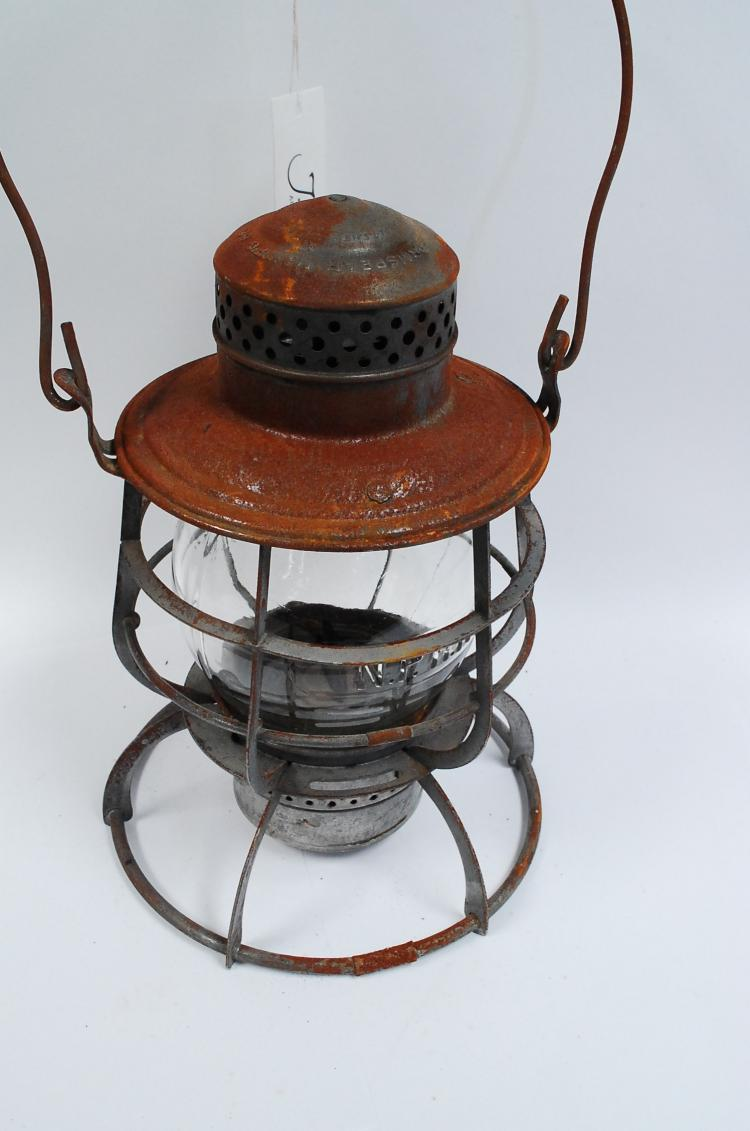Antique Armspear Manfg Co NPRy Railroad Lantern With Matching Embossed Nprr And Safety Always Tall Globe