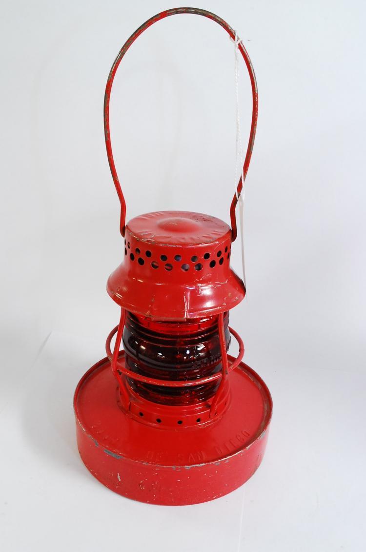 Antique Handlan County Of San Diego Embossed Number 57 Red Globe Traffic Lantern