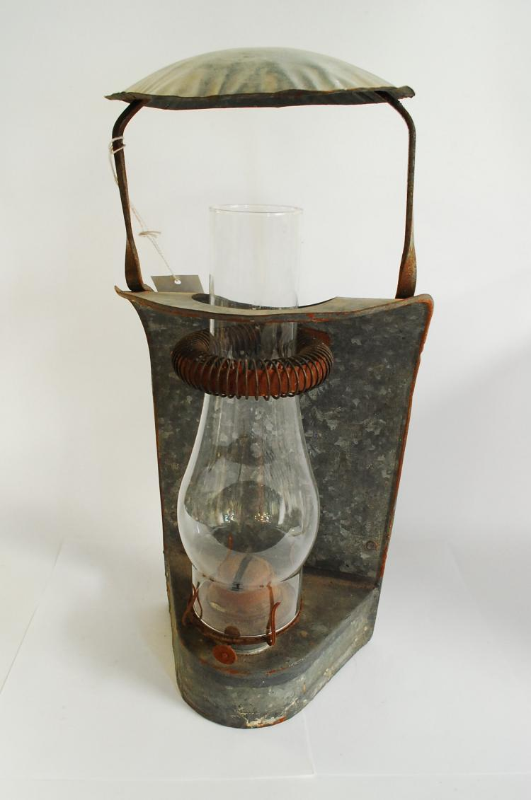 Antique Spco Railroad Galvanized Metal Wall Sconce Oil Lantern With Roof