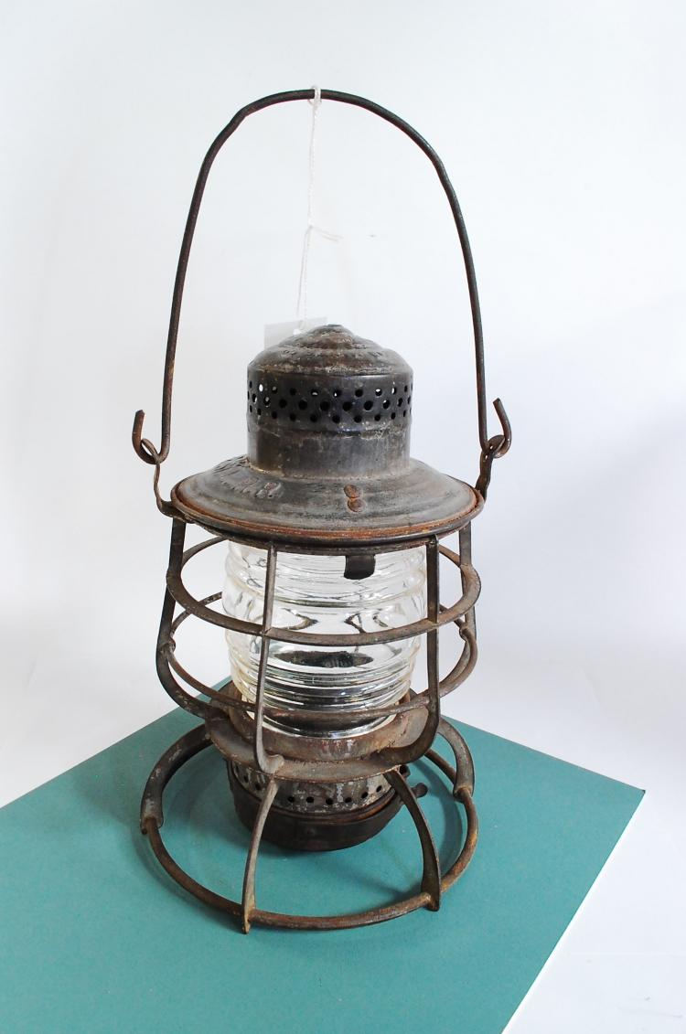 Antique Armspear Manfg M&StLRR Railroad Lantern With Clear Ribbed Globe