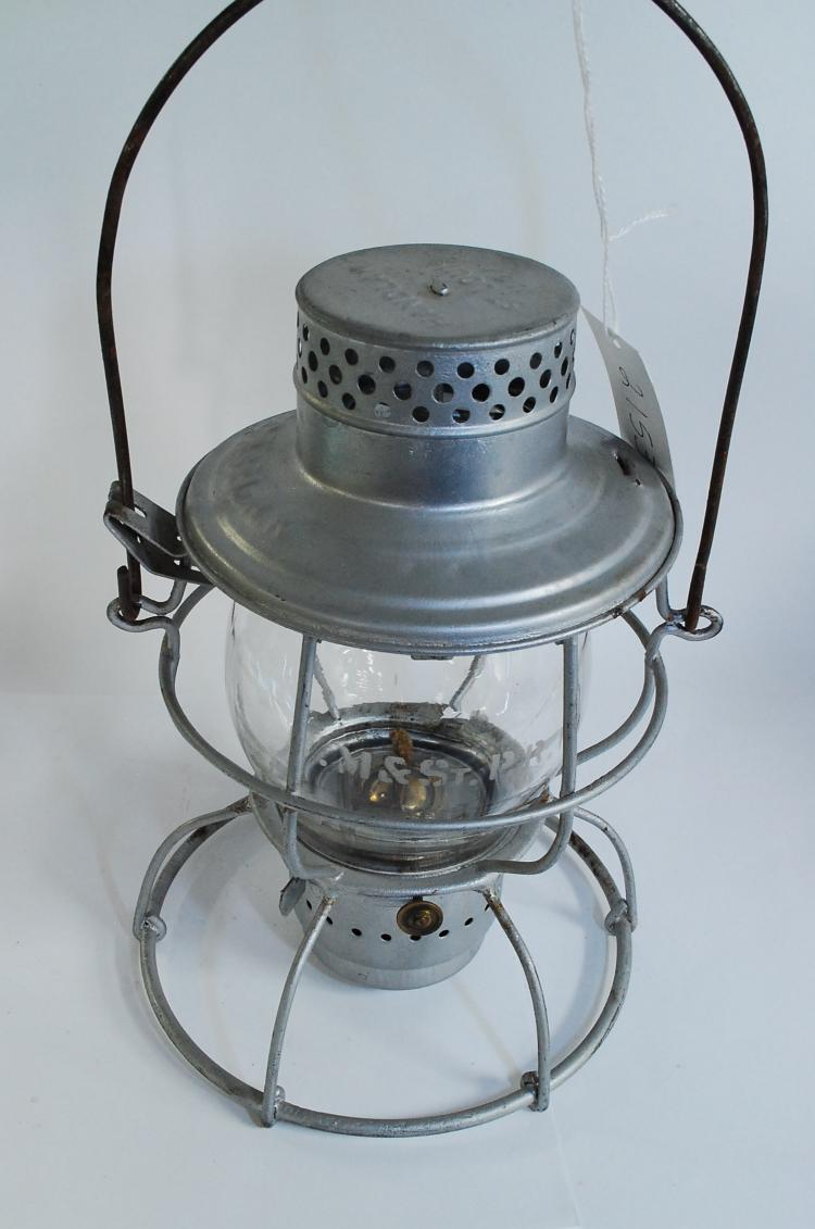 Antique Handlan CCC&StLRR Railroad Lantern With Matching Clear Acid Etched Tall Globe