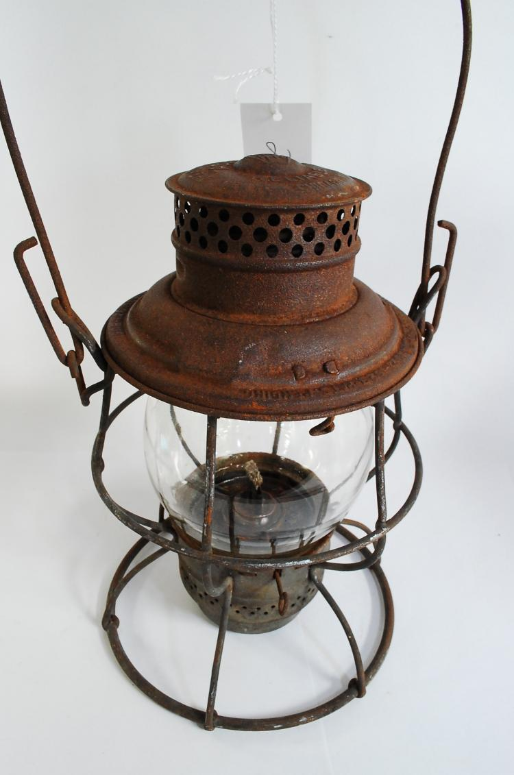 Antique Adlake Keystone PRR Railroad Lantern With Tall Matching Embossed Clear Globe