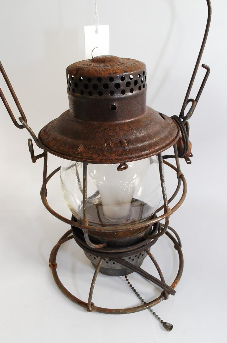 Antique Adlake CM&StPRy Railroad Lantern With Tall Matching Embossed Clear Globe