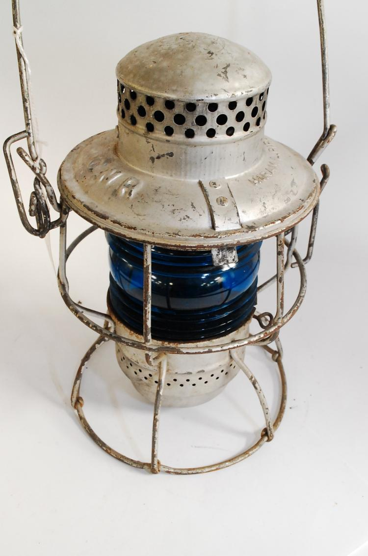 Antique Hiram L Piper Co Ltd CNR RR Railroad Lantern With Blue Ribbed Globe