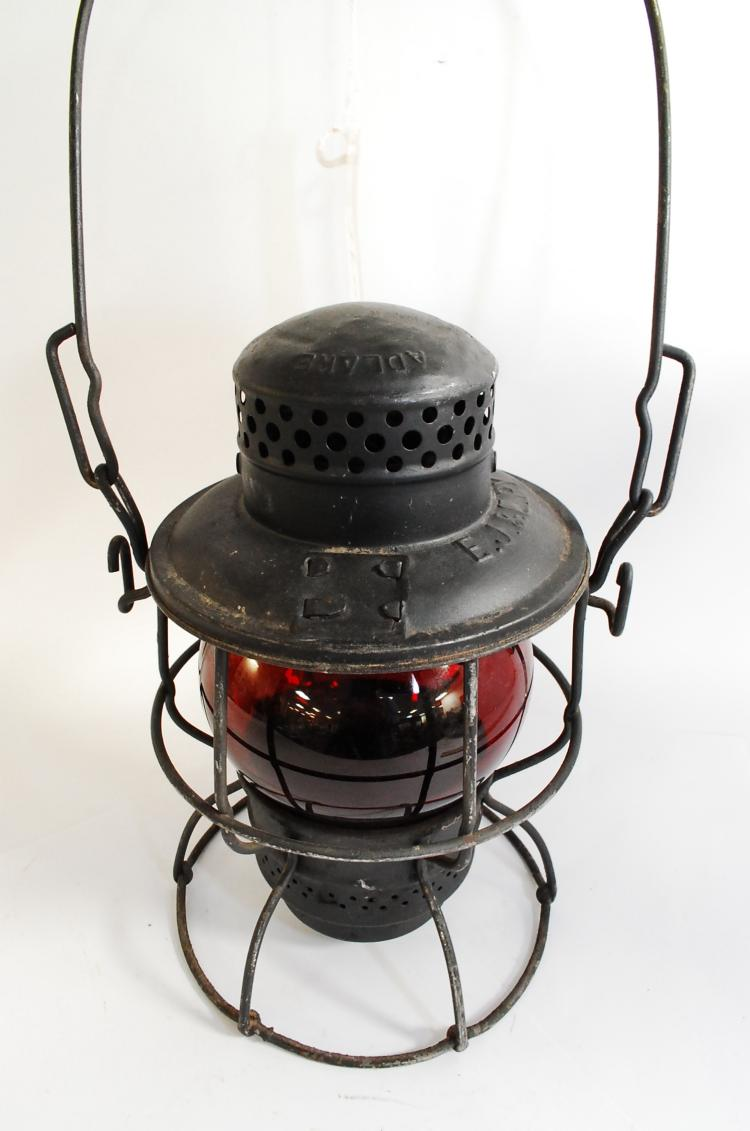 Antique Adlake Kero EJ&ERy Railroad Lantern With Red Short Globe