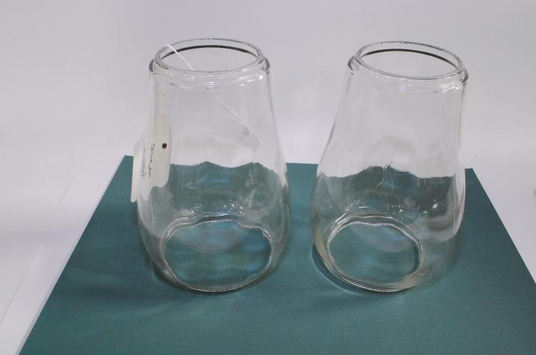 2 Antique Clear Railroad Or Barn Lantern Globes