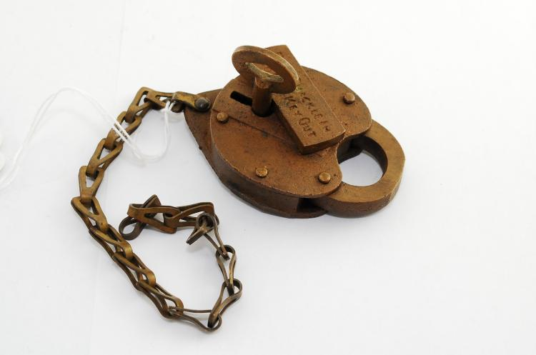 Vintage Solid Brass 1966 Push Shackle In To Get Key Out Railroad Padlock With Key