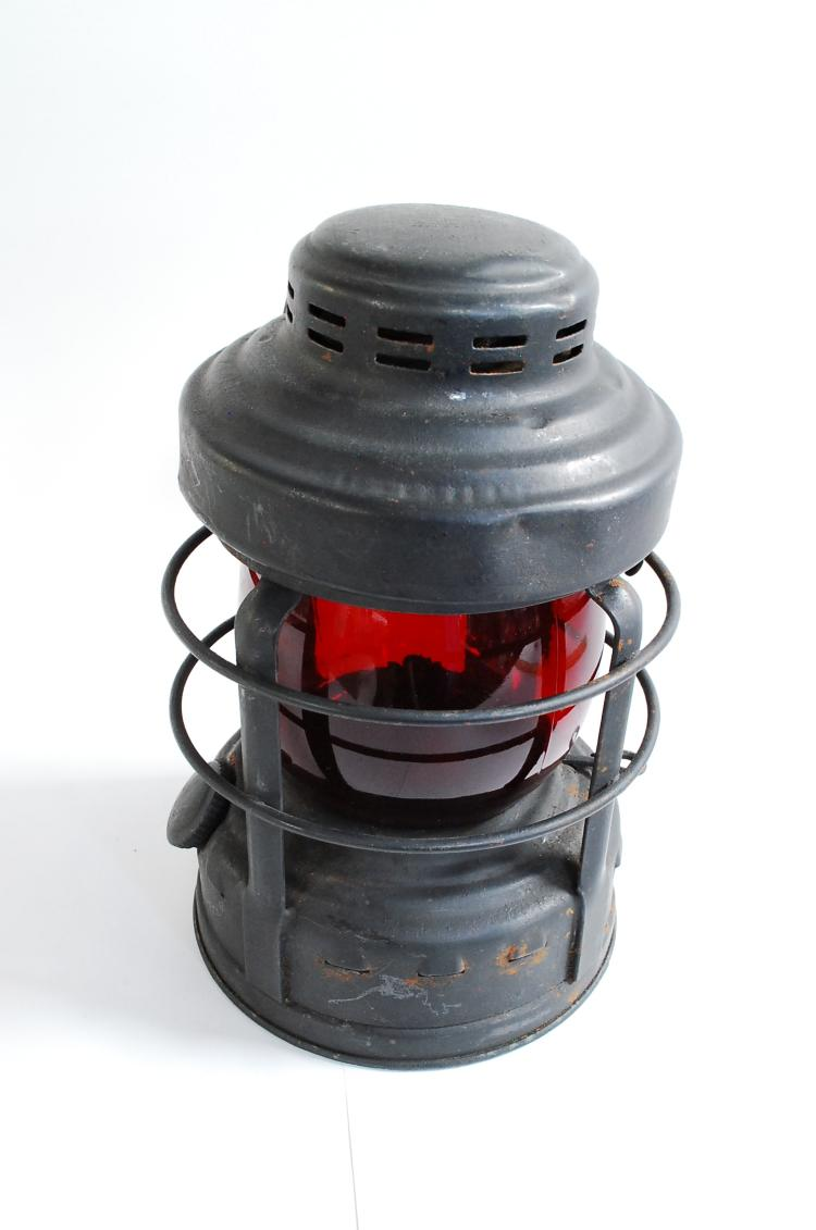 Antique Embury Manufacturing Co Number 25 Luck-E-Lite Red Globe Emergency Lantern