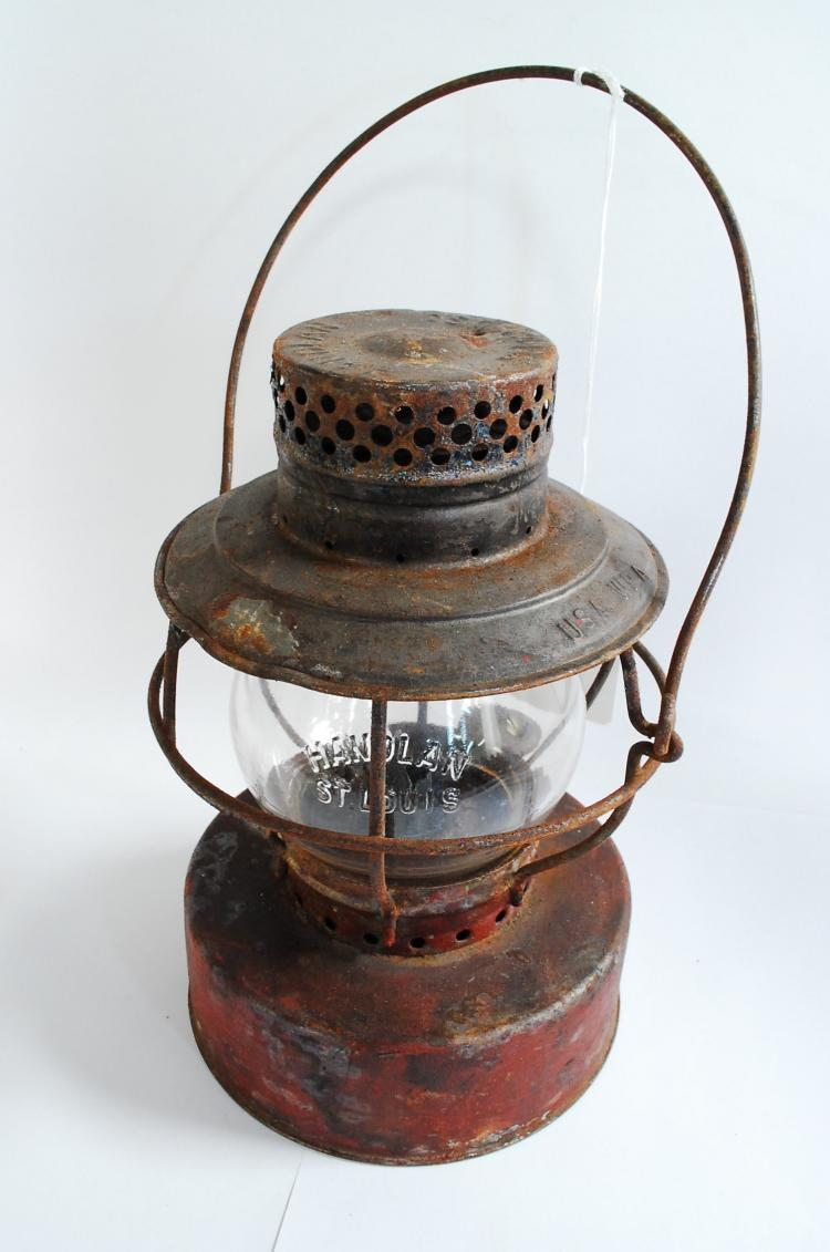 Antique Handlan Usa WPA Railroad Lantern With Clear Embossed Handlan St. Louis Short Globe