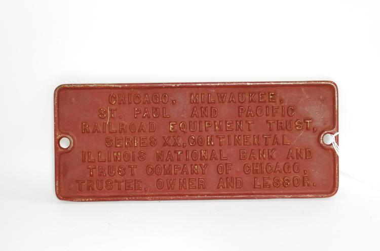 Cast Iron CMSTP&PRR Railroad Equipment Trust Yard Or Building Wall Plaque