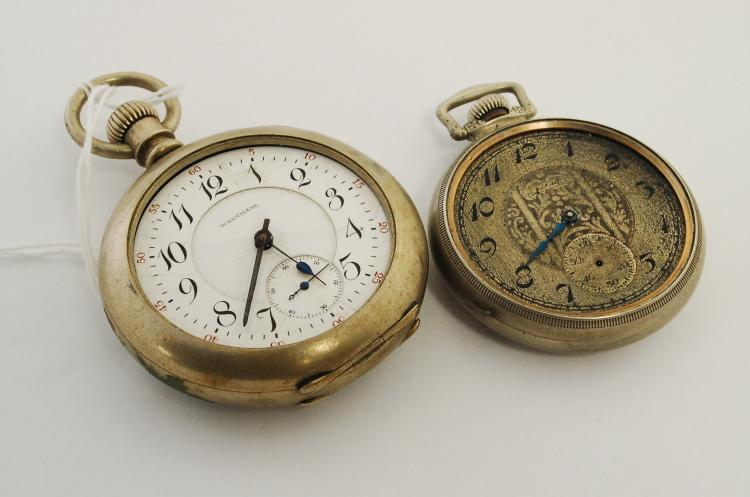 2 Vintage Waltham And Elgin Railroad Pocket Watches For Parts Or Repair
